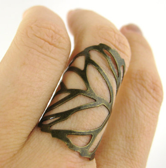 Adjustable Leaf Ring - Brass Knuckle Ring Leaf Jewelry Armor Ring - $8 on Etsy